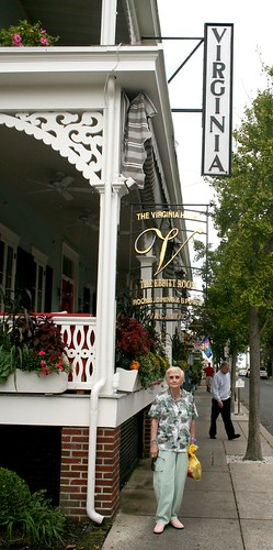 My mom Jeanne in front of the Virginia Hotel