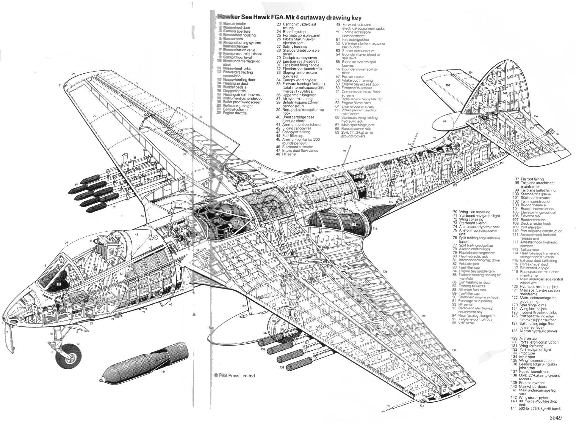 hight resolution of hawker sea hawk fga mk4 cutaway drawing key csc hercules c 130 schematic c 130 hercules 3 view