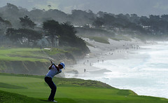 Parker McLachlin approach shot at 9th hole, Pebble Beach, 2010, by Stuart Franklin