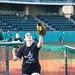 Players, both experienced and novice, warmed up in the bullpen for the UH AUW Softball Tourment at Les Murakami Stadium on Sept. 30, 2011.
