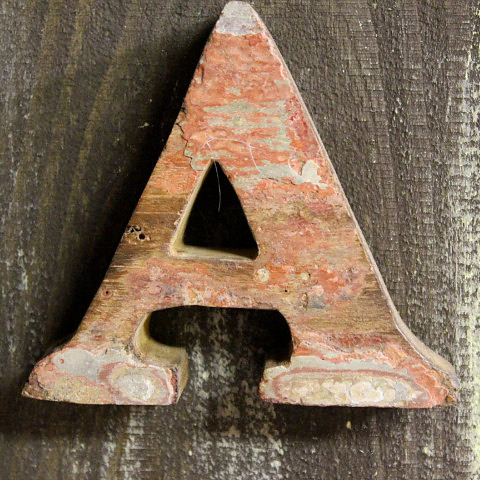 Letter A Beach Decor Vintage Nautical Wooden by SEASTYLE