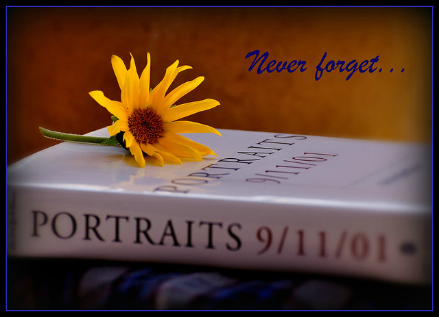 Never Forget...(the fabric under the book is the skirt I had on that morning.)