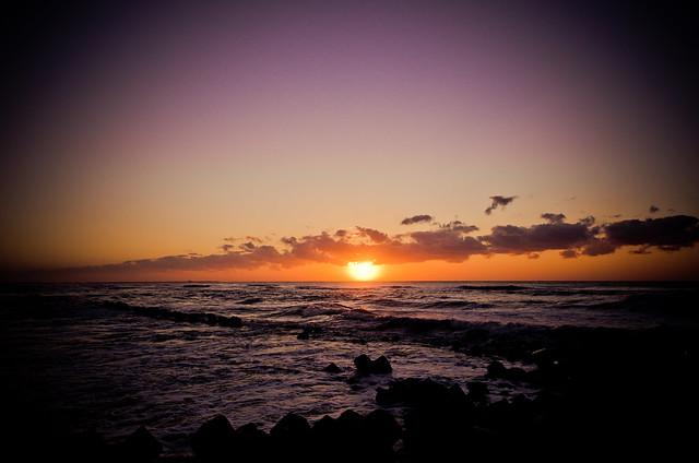 内灘海岸の夕日