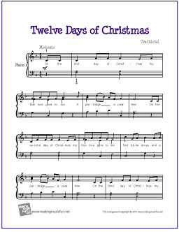 Twelve Days of Christmas | Free Sheet Music for Piano Solo