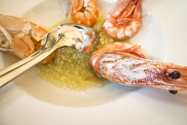 Seafood in Puglia: gamba's uit Gallipoli bij Osteria Corteinfiore in Trani