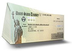 US Treasury Checks - 3D Illustration