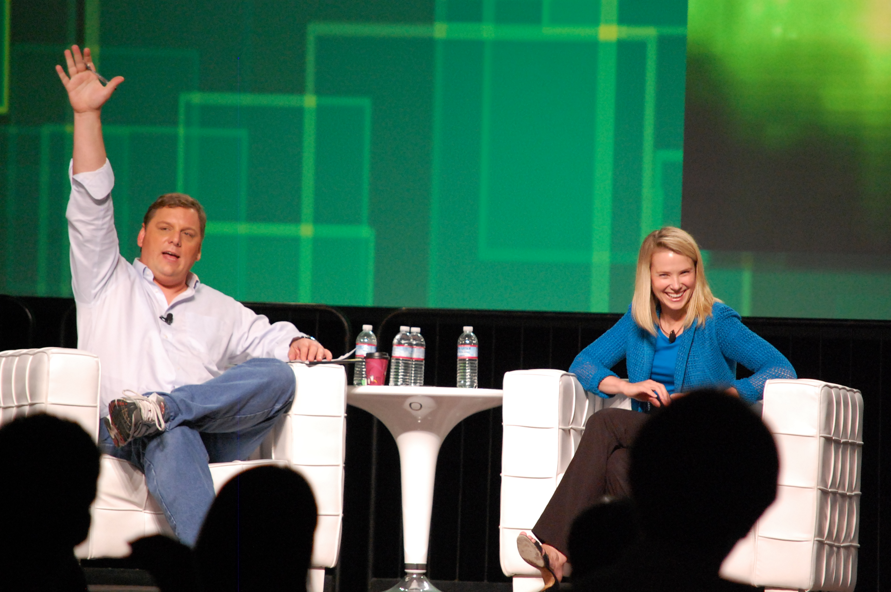 Yahoo! CEO Marissa Meyer with Michael Arrington at TechCrunch Disrupt