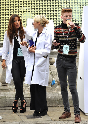 Ladies In White Coats, Here To Help. London Fashion Week
