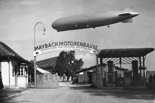 The LZ 127 Graf Zeppelin over Maybach factory in Friedrichshafen