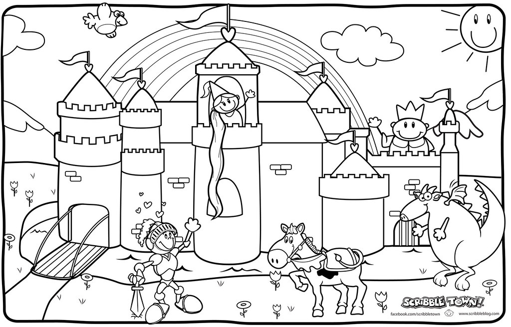 Free coloring pages of medieval town