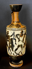 Aias Telamonios and Odysseus fighting over Achilles' weapons, White-ground Attic lekythos, c.500 BC, by Jastrow