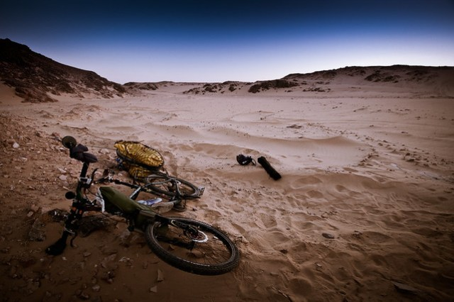 Stopping for the night in the Nubian desert