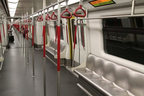 An almost empty train on Hong Kong's MTR?