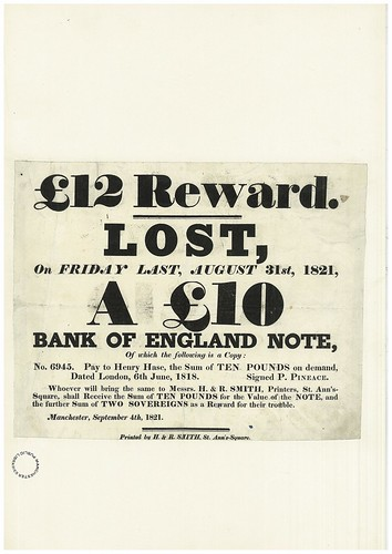 £12 Reward for Lost £10 Note, 1821