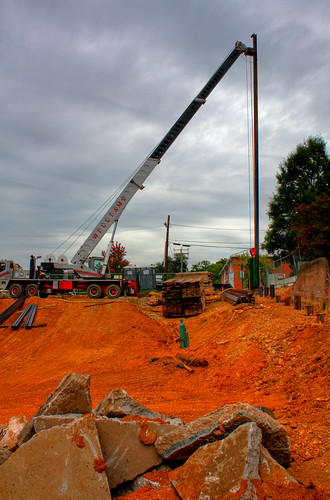 Pile Driver at the Dominion Heights Construction Site