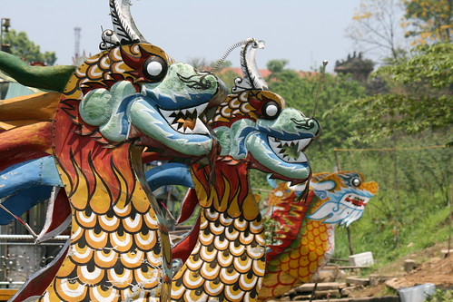 Dragon boats resting