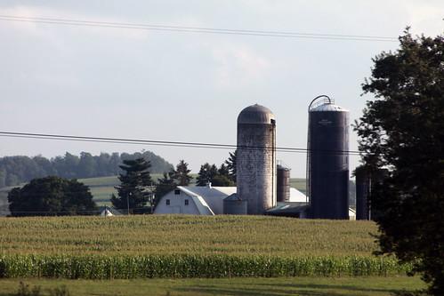farm with silos, pennsylvania