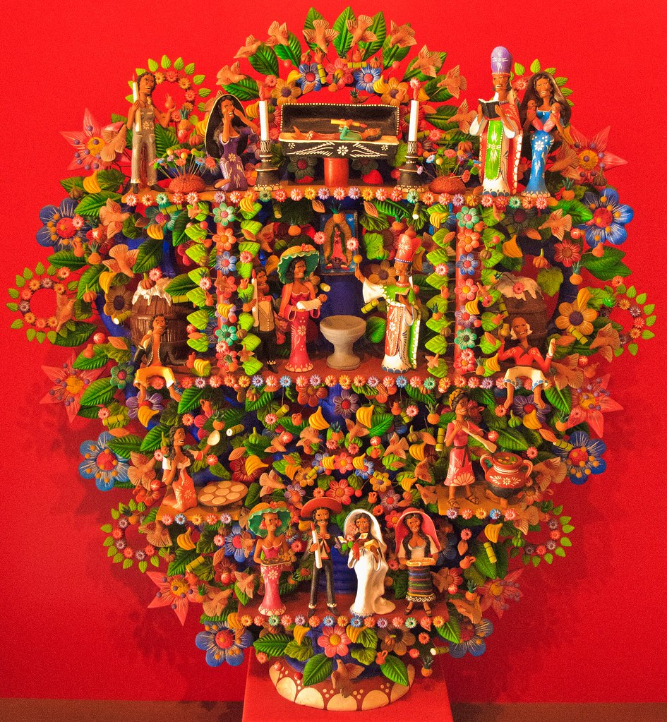 A three dimensional construction, possibly an altar piece, in a Merida museum.