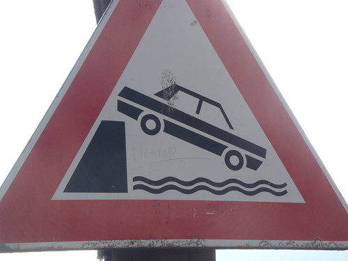 Don't drive into the water!