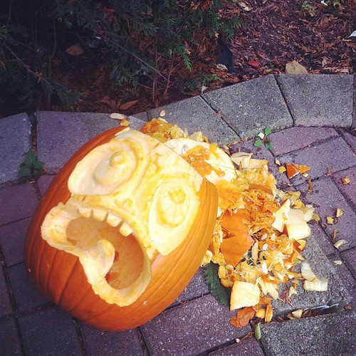 My pumpkin after falling down and smashing it's skull open.