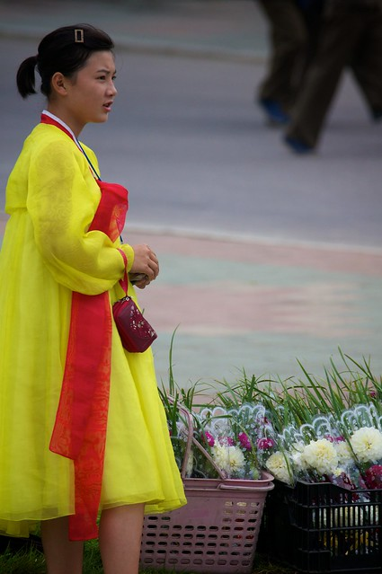 Girl with Flowers in Pyongyang