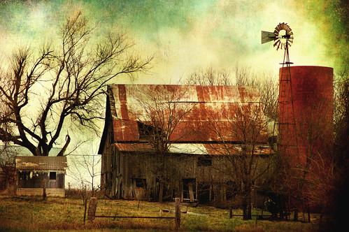 farm with windmill by Jon Freeman Art
