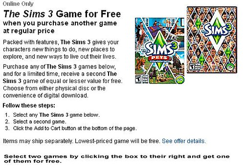 (Insert Generic Name for Post about Best Buy Sims 3 Cyber Monday Thing Here)