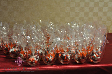 Wine Glass Wedding Favors with M&M's