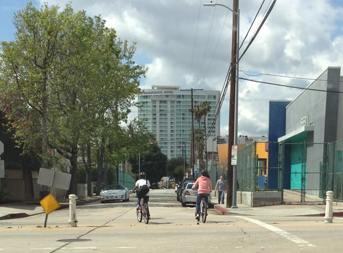 Bicyclists riding on Yucca St.
