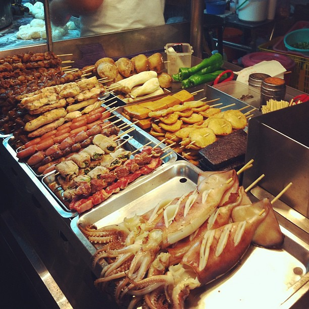 Grilled squid (ika yaki) and other skewered things