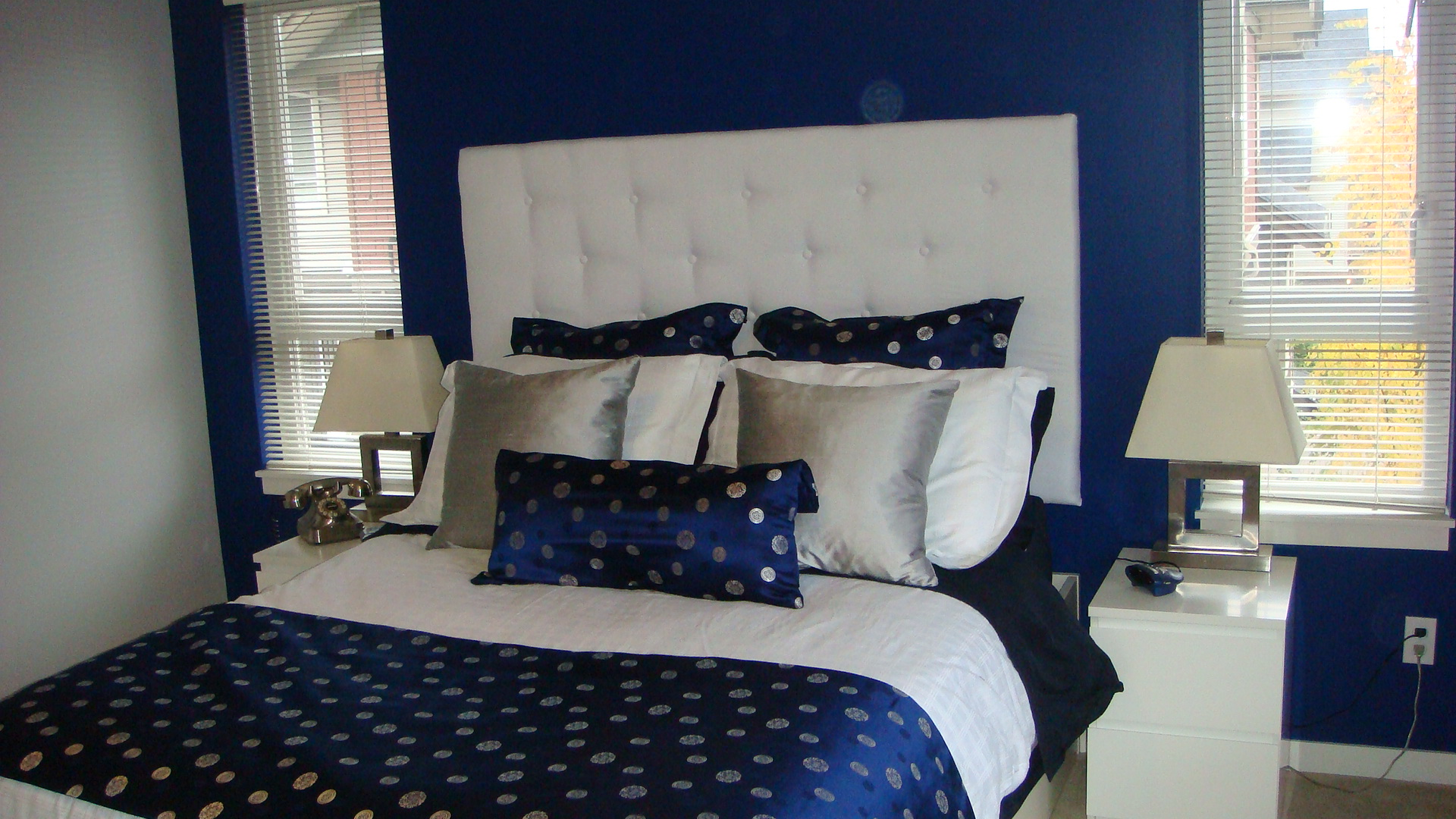 Navy Blue Silver Amp White Bedroom With White Padded
