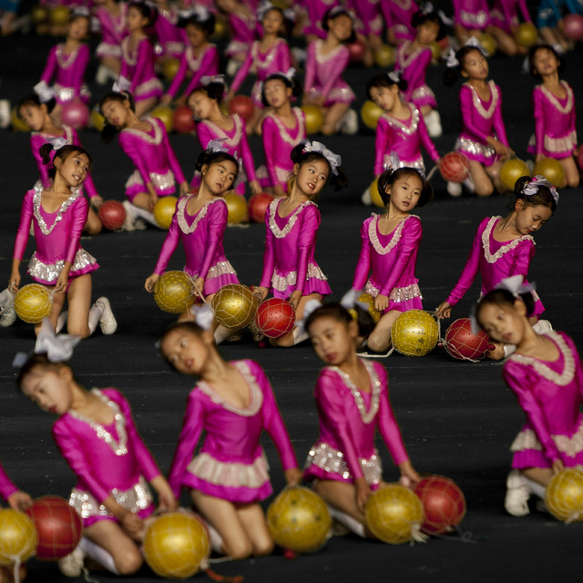 Kids at Arirang Mass Games in May Day stadium Pyongyang- North Korea