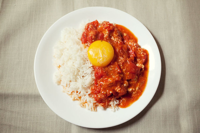 Tomato & egg over rice