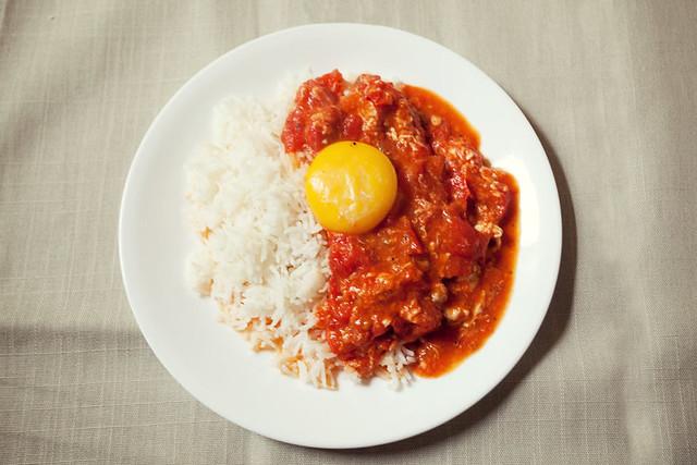 Tomato & egg over rice