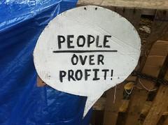 """People over profit!"""