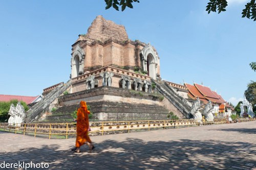 Wat Chedi Luang famous Chedi with a monk