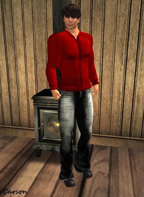 American Bazaar - Red Mik Jacket and Black Street Jeans