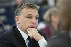 Victor Orban during the debate on the politica...