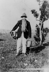 Portrait of a young man dressed as a swagman, ...