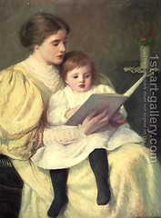 Mother-And-Child-Reading_ Frederick Warren Freer