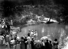 African American citizens attend a baptism
