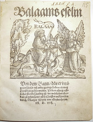 Woodcut illustration of Balaam and the ass; us...