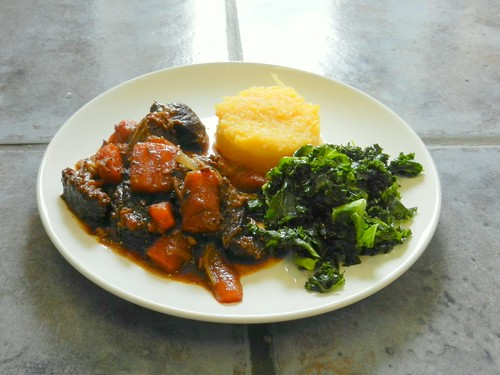 Ox Bourguignon, swede and kale