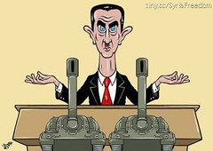 Assad speech, through tanks