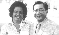 "Concepcion ""Chong""  Cruz Barrett and Governor Carlos G. Camacho"