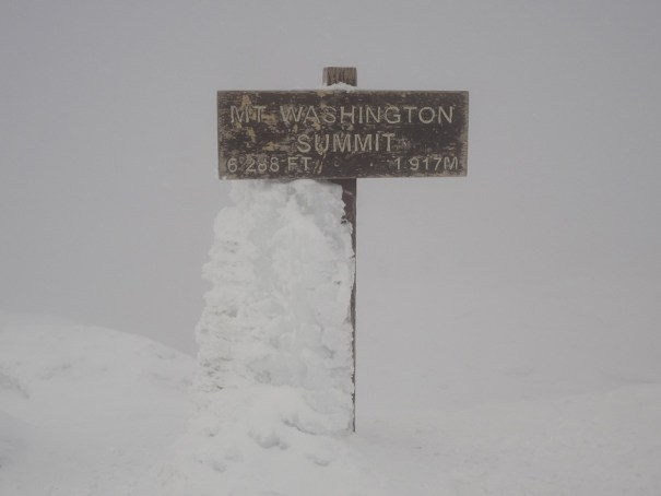 Mt. Washington summit sign in winter
