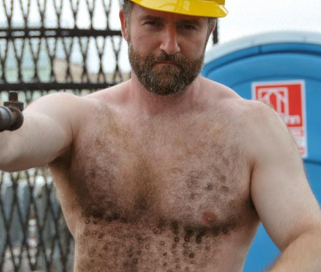 Evan Working Construction 3 Jeffbearnyc Tags Bear Shirtless Musclebear Hardhat Hairy Muscles Beard