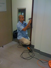 "Toronto Locksmith installing an electric strike 2 • <a style=""font-size:0.8em;"" href=""http://www.flickr.com/photos/61091887@N02/6821378500/"" target=""_blank"">View on Flickr</a>"