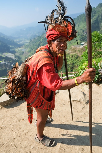 Posing with his spear. Banaue