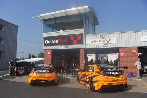 The Halfords Team Honda garage during the BTCC weekend at Oulton Park, June 2016